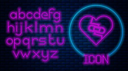 Glowing neon Healed broken heart or divorce icon isolated on brick wall background. Shattered and patched heart. Love symbol. Valentines day. Neon light alphabet. Vector Illustration