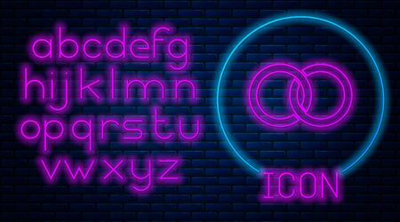Glowing neon Wedding rings icon isolated on brick wall background. Bride and groom jewelery sign. Marriage icon. Diamond ring icon. Neon light alphabet. Vector Illustration Vectores