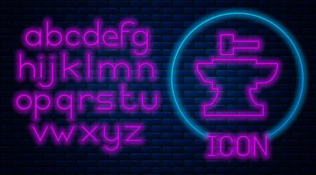 Glowing neon Anvil for blacksmithing and hammer icon isolated on brick wall background. Metal forging. Forge tool. Neon light alphabet. Vector Illustration