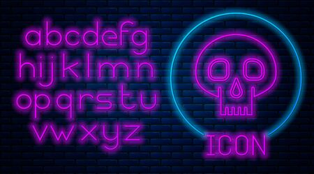 Glowing neon Skull icon isolated on brick wall background. Neon light alphabet. Vector Illustration Vectores