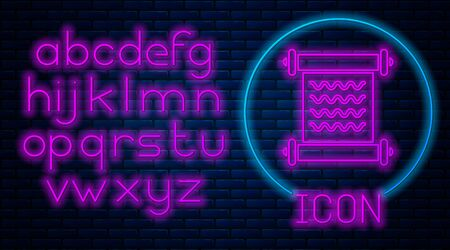 Glowing neon Decree, paper, parchment, scroll icon icon isolated on brick wall background. Neon light alphabet. Vector Illustration Ilustração