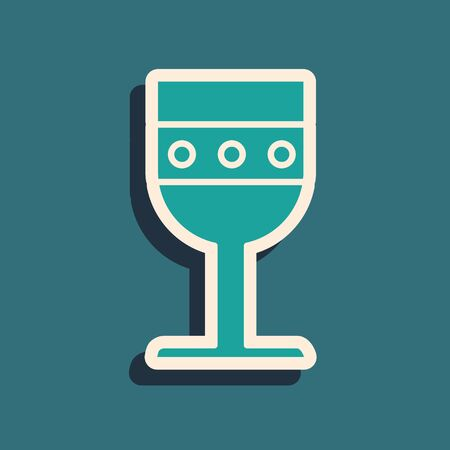 Green Medieval goblet icon isolated on blue background. Long shadow style. Vector Illustration