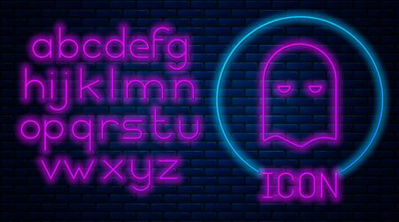 Glowing neon Executioner mask icon isolated on brick wall background. Hangman, torturer, executor, tormentor, butcher, headsman icon. Neon light alphabet. Vector Illustration
