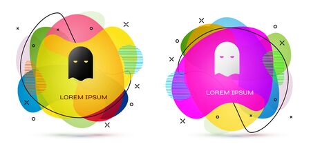 Color Executioner mask icon isolated on white background. Hangman, torturer, executor, tormentor, butcher, headsman icon. Abstract banner with liquid shapes. Vector Illustration