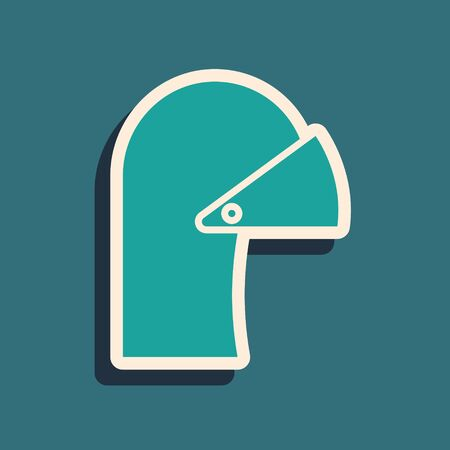 Green Medieval iron helmet for head protection icon isolated on blue background. Long shadow style. Vector Illustration Archivio Fotografico - 138979211