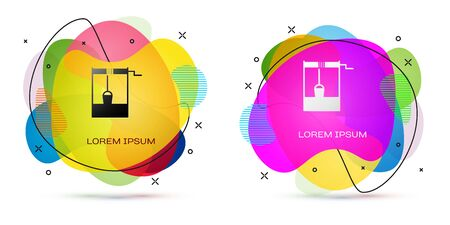 Color Well with a bucket and drinking water icon isolated on white background. Abstract banner with liquid shapes. Vector Illustration