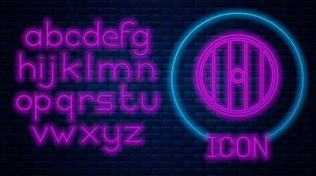 Glowing neon Round wooden shield icon isolated on brick wall background. Security, safety, protection, privacy, guard concept. Neon light alphabet. Vector Illustration