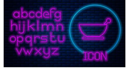 Glowing neon Mortar and pestle icon isolated on brick wall background. Neon light alphabet. Vector Illustration