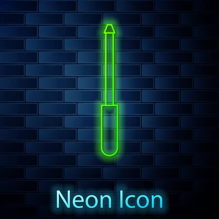 Glowing neon line Knife sharpener icon isolated on brick wall background. Vector Illustration