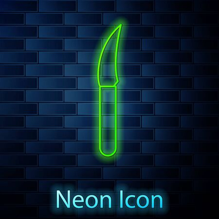 Glowing neon line Knife icon isolated on brick wall background. Cutlery symbol. Vector Illustration