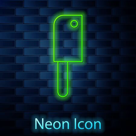 Glowing neon line Meat chopper icon isolated on brick wall background. Kitchen knife for meat. Butcher knife. Vector Illustration