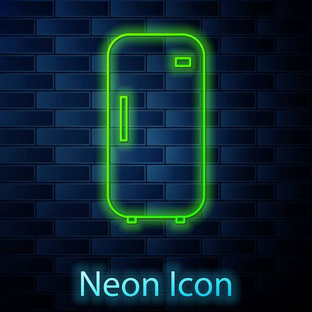 Glowing neon line Refrigerator icon isolated on brick wall background. Fridge freezer refrigerator. Household tech and appliances. Vector Illustration Ilustração