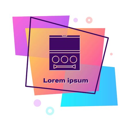 Purple Eye shadow palette with brush icon isolated on white background. Color rectangle button. Vector Illustration