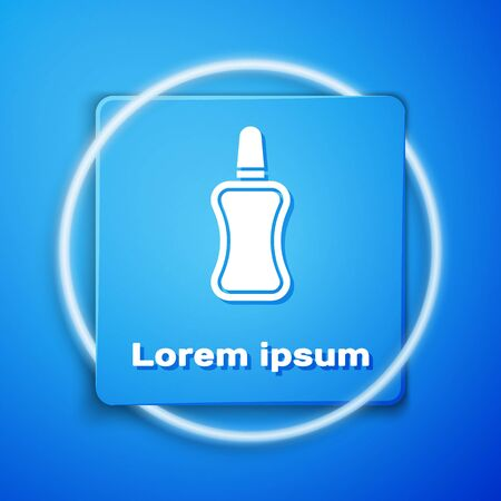 White Nail polish bottle icon isolated on blue background. Blue square button. Vector Illustration