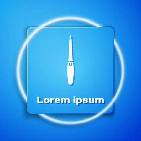 White Nail file icon isolated on blue background. Manicure tool. Blue square button. Vector Illustration