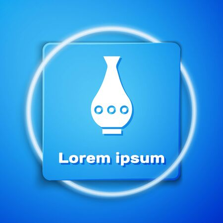 White Vase icon isolated on blue background. Blue square button. Vector Illustration