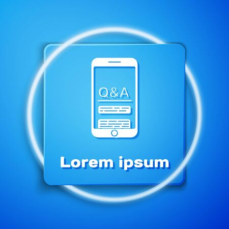 White Mobile phone with Question and Exclamation icon isolated on blue background. Frequently asked questions. Blue square button. Vector Illustration Vektorgrafik