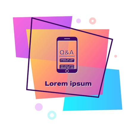 Purple Mobile phone with Question and Exclamation icon isolated on white background. Frequently asked questions. Color rectangle button. Vector Illustration