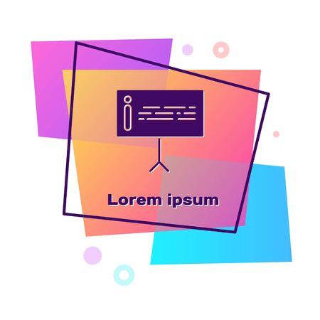 Purple Information icon isolated on white background. Color rectangle button. Vector Illustration Vektorgrafik