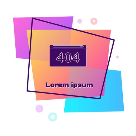 Purple Page with a 404 error icon isolated on white background. Template reports that the page is not found. Color rectangle button. Vector Illustration