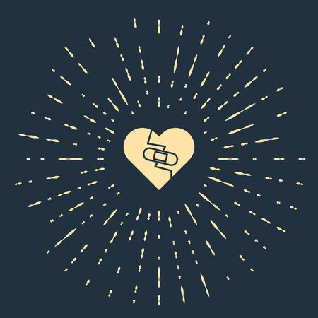 Beige Healed broken heart or divorce icon isolated on blue background. Shattered and patched heart. Love symbol. Valentines day. Abstract circle random dots. Vector Illustration Ilustração