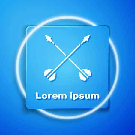 White Medieval crossed arrows icon isolated on blue background. Medieval weapon. Blue square button. Vector Illustration Çizim