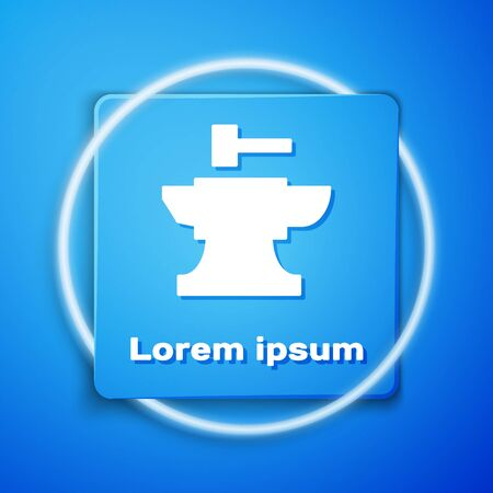 White Anvil for blacksmithing and hammer icon isolated on blue background. Metal forging. Forge tool. Blue square button. Vector Illustration
