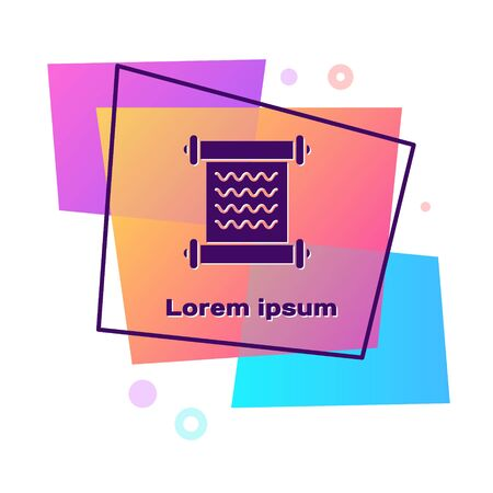 Purple Decree, paper, parchment, scroll icon icon isolated on white background. Color rectangle button. Vector Illustration