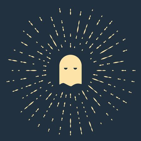 Beige Executioner mask icon isolated on blue background. Hangman, torturer, executor, tormentor, butcher, headsman icon. Abstract circle random dots. Vector Illustration