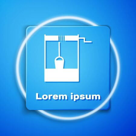 White Well with a bucket and drinking water icon isolated on blue background. Blue square button. Vector Illustration