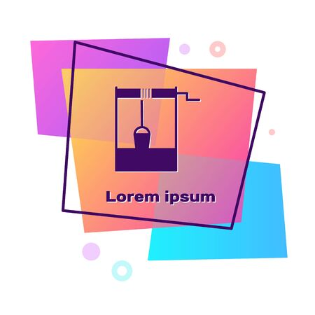 Purple Well with a bucket and drinking water icon isolated on white background. Color rectangle button. Vector Illustration  イラスト・ベクター素材