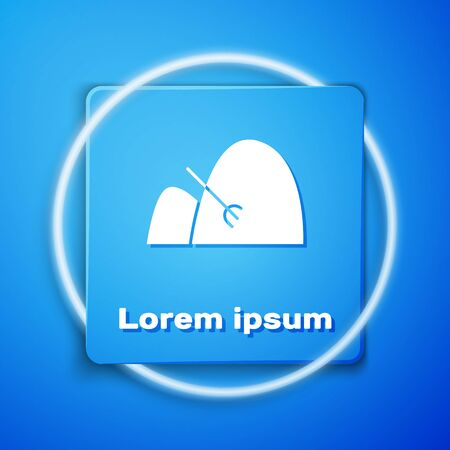 White Bale of hay and rake icon isolated on blue background. Blue square button. Vector Illustration Vettoriali