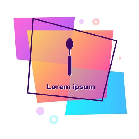 Purple Spoon icon isolated on white background. Cooking utensil. Cutlery sign. Color rectangle button. Vector Illustration Illusztráció