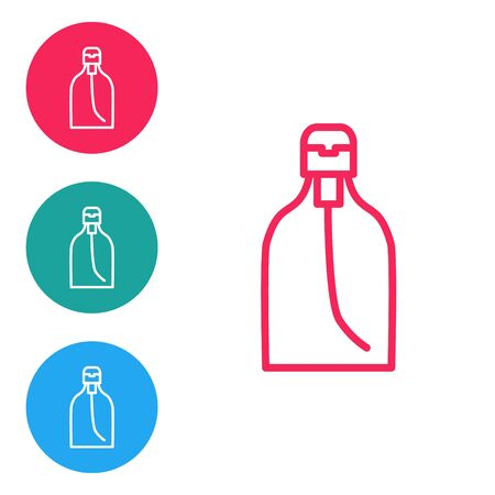 Red line Bottle of liquid antibacterial soap with dispenser icon isolated on white background. Disinfection, hygiene, skin care. Set icons in circle buttons. Vector Illustration