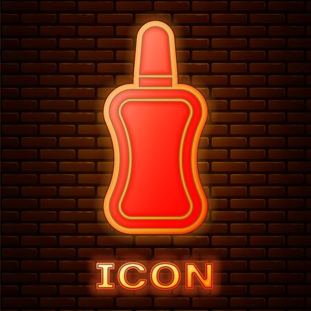 Glowing neon Nail polish bottle icon isolated on brick wall background. Vector Illustration