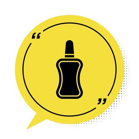 Black Nail polish bottle icon isolated on white background. Yellow speech bubble symbol. Vector Illustration Illustration