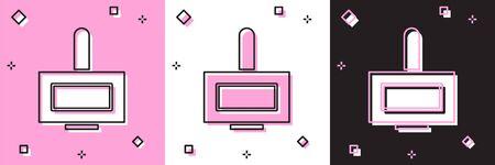Set Nail polish bottle icon isolated on pink and white, black background.  Vector Illustration
