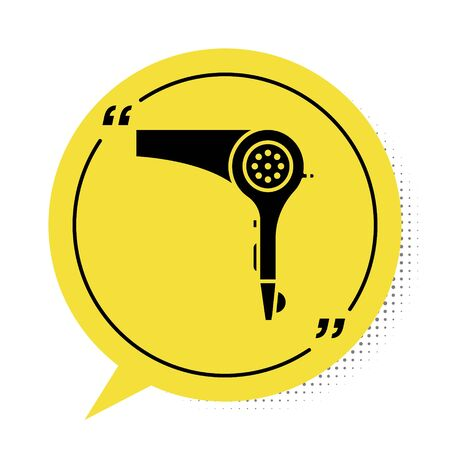 Black Hair dryer icon isolated on white background. Hairdryer sign. Hair drying symbol. Blowing hot air. Yellow speech bubble symbol. Vector Illustration