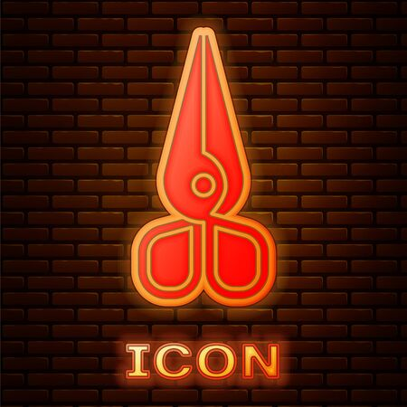 Glowing neon Scissors icon isolated on brick wall background. Cutting tool sign.  Vector Illustration Vectores
