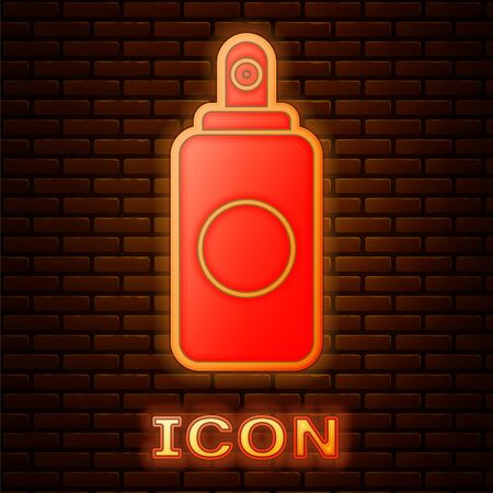 Glowing neon Spray can for air freshener, hairspray, deodorant, antiperspirant icon isolated on brick wall background.  Vector Illustration