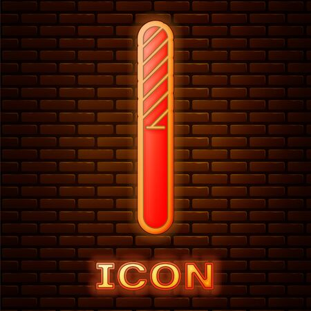Glowing neon Nail file icon isolated on brick wall background. Manicure tool.  Vector Illustration Illustration