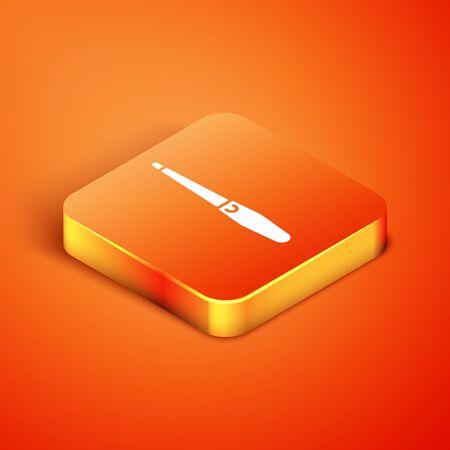 Isometric Nail file icon isolated on orange background. Manicure tool.  Vector Illustration