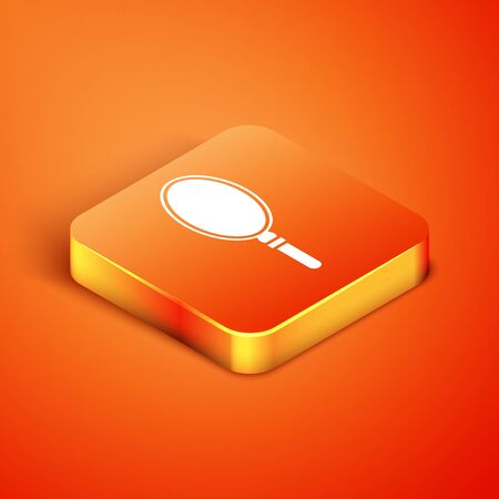 Isometric Hand mirror icon isolated on orange background. Vector Illustration