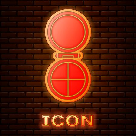 Glowing neon Makeup powder with mirror icon isolated on brick wall background. Vector Illustration
