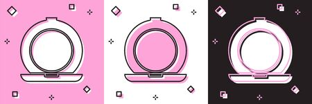 Set Makeup powder with mirror icon isolated on pink and white, black background. Vector Illustration Stock Illustratie