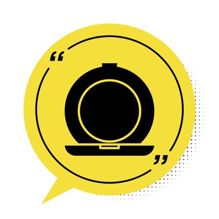 Black Makeup powder with mirror icon isolated on white background. Yellow speech bubble symbol. Vector Illustration