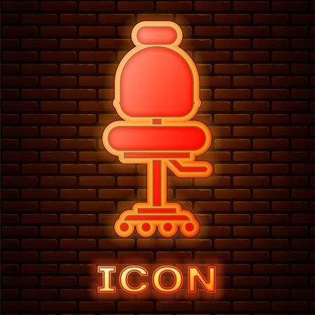 Glowing neon Office chair icon isolated on brick wall background. Vector Illustration Illustration