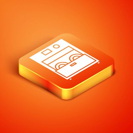 Isometric Kitchen dishwasher machine icon isolated on orange background. Vector Illustration