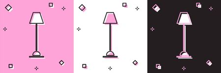 Set Floor lamp icon isolated on pink and white, black background. Vector Illustration