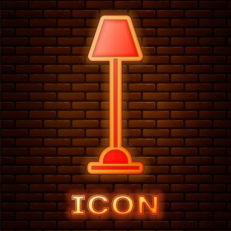 Glowing neon Floor lamp icon isolated on brick wall background. Vector Illustration
